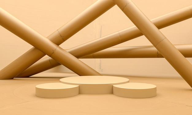 Fondo de bambú y podio en blanco de la etapa del pedestal, composición abstracta 3d