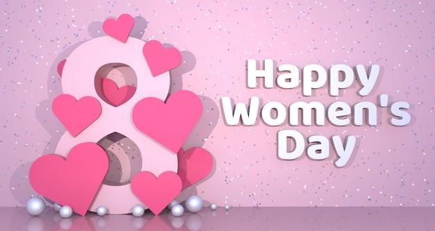 Fondo de bandera del día de la mujer. renderizado 3d