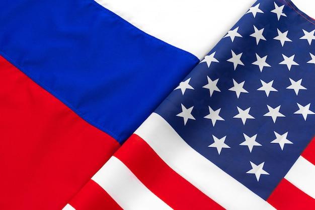 Fondo de bandera estadounidense y bandera rusa juntos