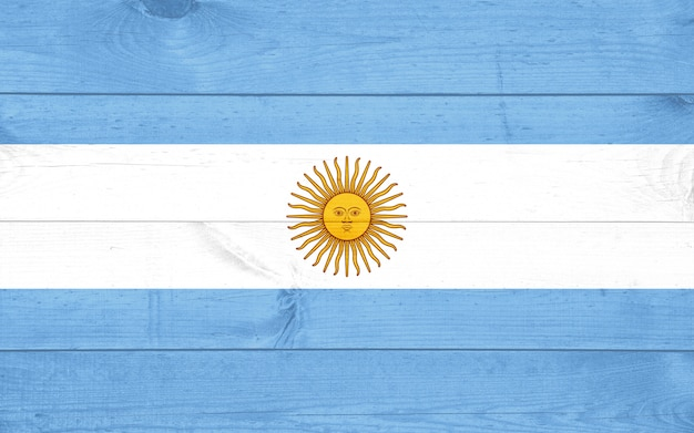 Fondo de bandera de madera de grunge de argentina