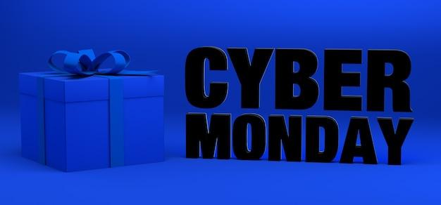 Fondo de banner de cyber monday con caja de regalo o presente