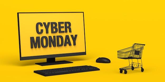 Fondo de banner de cyber monday con computadora y carrito de compras en línea