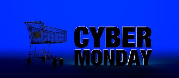 Fondo de banner de cyber monday con texto y carrito de compras