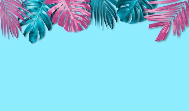 Fondo de banner de hojas tropicales con espacio de copia