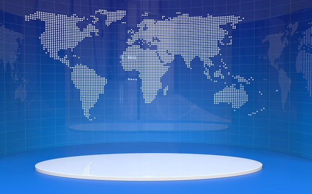 Fondo de banner de mesa y noticias en un estudio de noticias