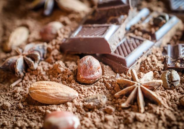 Fondo de barras de chocolate y nueces