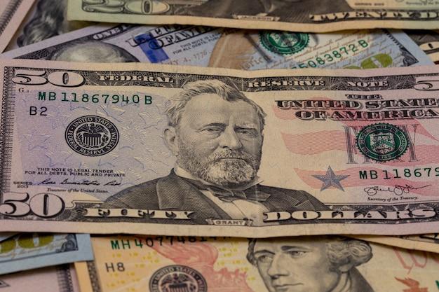 Fondo de billetes de un dólar.