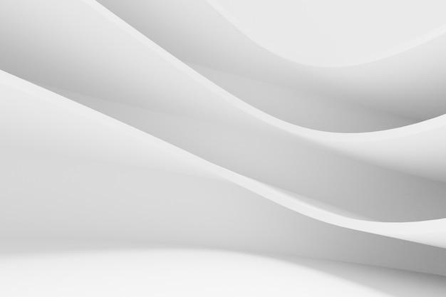 Fondo blanco abstracto de la arquitectura. render 3d. papel pintado geométrico moderno. diseño de tecnología futurista