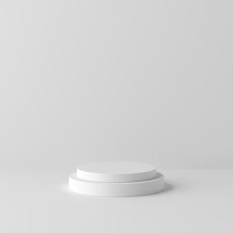 Fondo blanco abstracto con podio de forma geométrica para el producto. concepto minimalista representación 3d
