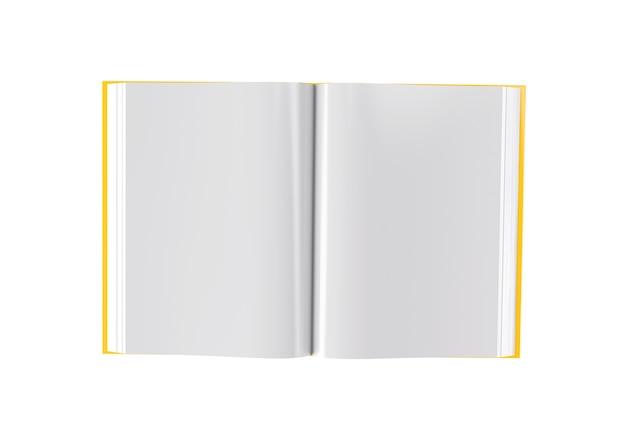 Fondo blanco aislado de la imagen del libro abierto de la representación 3d
