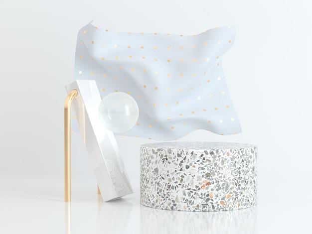 Fondo blanco de la representación 3d de la tela del extracto blanco de la escena del cilindro de mármol