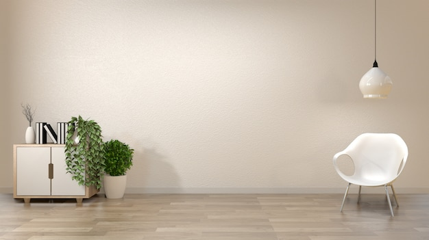 Fondo blanco vacío de la pared de la sala de estar del zen con el estilo de japón de la decoración.