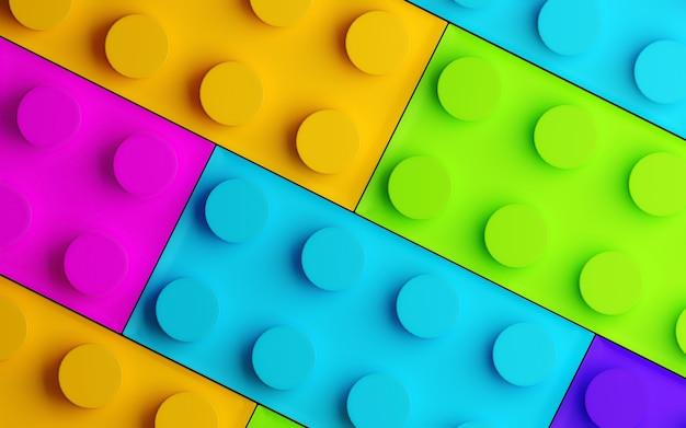 Fondo de bloques de construcción de plástico. render 3d