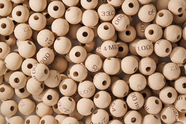 Fondo de bolas de madera de lotería