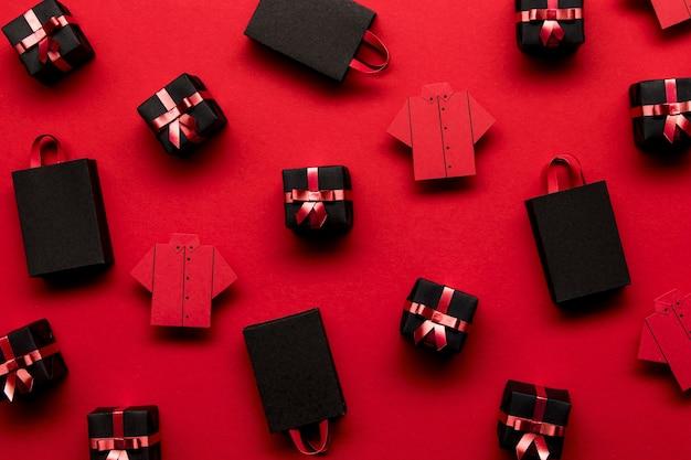 Fondo de bolsas de compras y cajas de regalo.