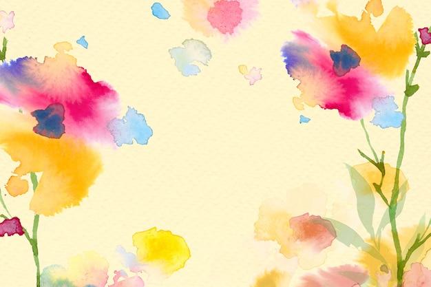 Fondo de borde floral de primavera en amarillo con ilustración de acuarela de flores