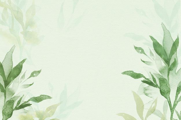 Fondo de borde floral de primavera en verde con ilustración de acuarela de hoja
