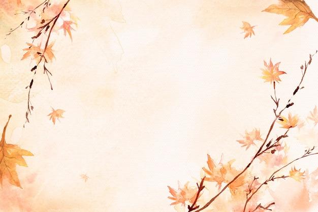 Fondo de borde de hoja de arce en temporada de otoño acuarela naranja