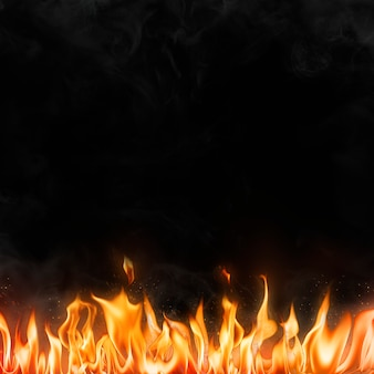 Fondo de borde de llama, imagen de fuego realista negro