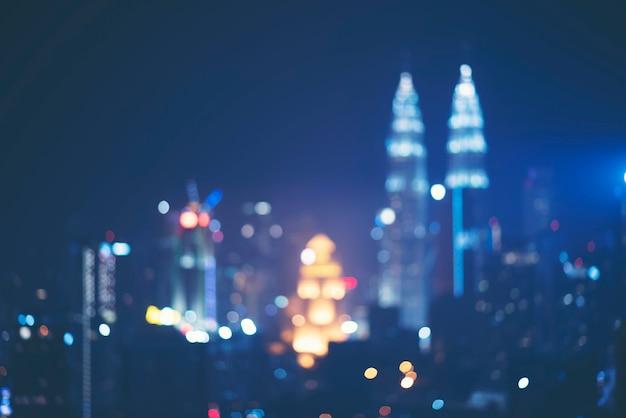 Fondo borroso abstracto de la vista de la ciudad de kuala lumpur, malasia
