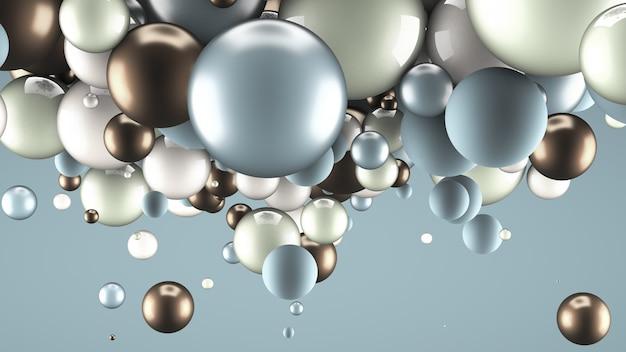 Fondo brillante con bolas. representación 3d