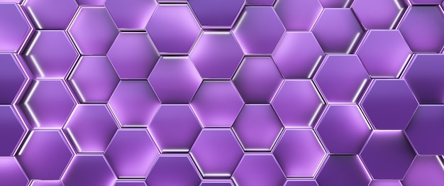 Fondo brillante futurista de alta tecnología. celda hexagonal púrpura.