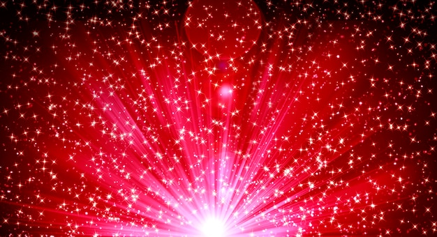 Fondo con brillantes destellos brillantes de rayos y brillo de confeti.
