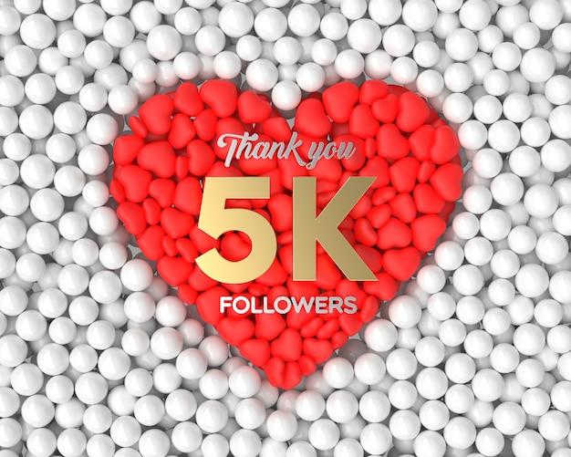 Fondo de celebración de seguidores 3d 5k