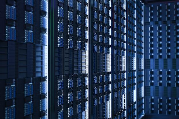 Fondo de cerca de torre de servidor azul de renderizado 3d