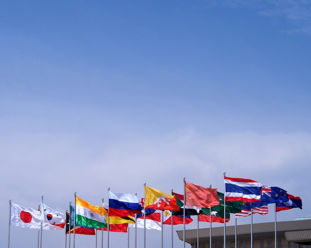 Fondo de cielo azul de bandera nacional.