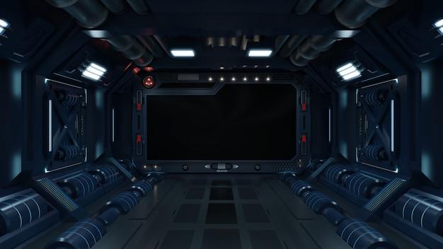 Fondo de ciencia ficción interior habitación ciencia ficción nave espacial corredores azul.