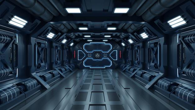 Fondo de ciencia ficción interior sala de ciencia ficción nave espacial corredores azules.