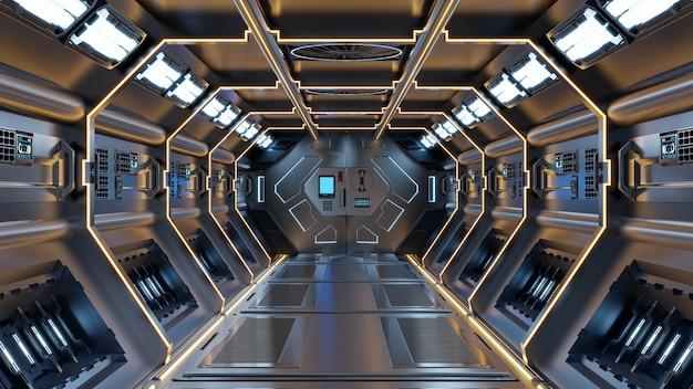 Fondo de ciencia ficción representación interior de la nave espacial de ciencia ficción corredores luz amarilla, representación 3d