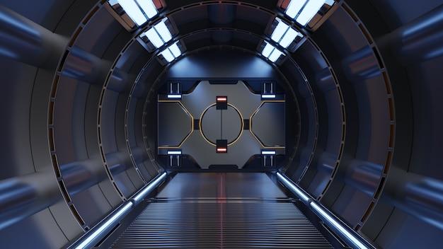 Fondo de ciencia ficción representación interior de la nave espacial de ciencia ficción corredores luz azul, representación 3d