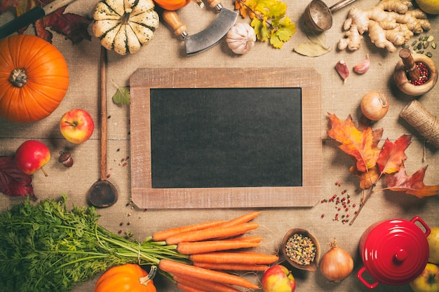 Fondo de cocina comida sana, vista superior, espacio de copia