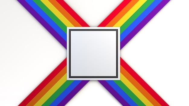 Fondo con los colores de la bandera del orgullo con espacio cuadrado para colocar texto. ilustración 3d.