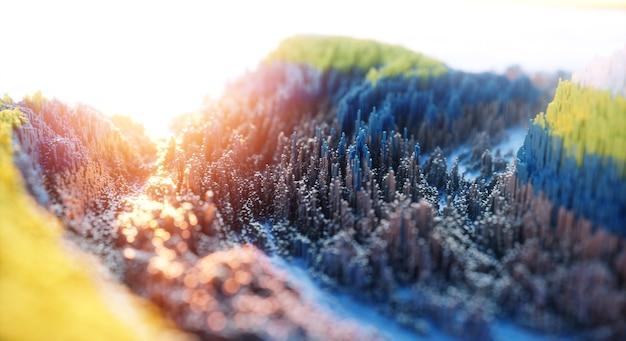 Fondo colorido abstracto. arte 3d de naturaleza digital.