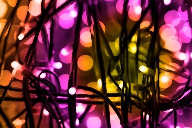 Fondo colorido de la decoración de luces festivas