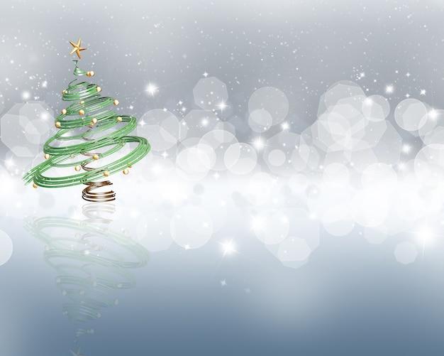 Fondo colorido con estrellas y efecto de luces bokeh y un árbol de navidad 3d