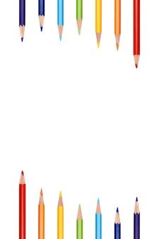Fondo colorido de la frontera del marco del color del lápiz del arco iris. borde de marco de color de lápiz colorido sobre fondo blanco