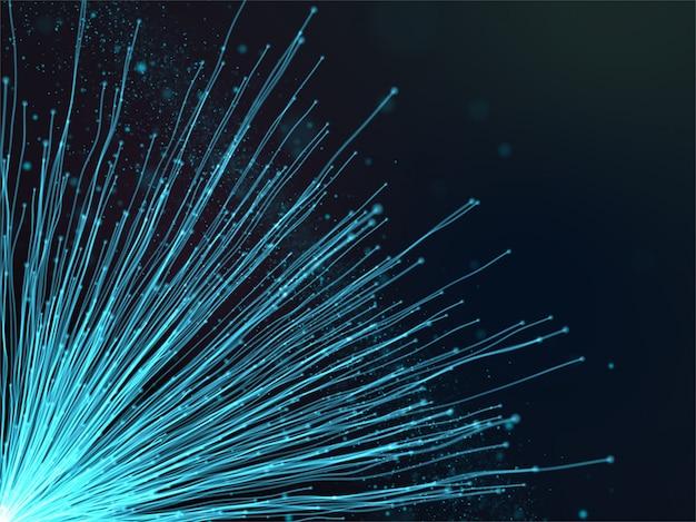 Fondo de comunicaciones tecno 3d con fibras y partículas flotantes