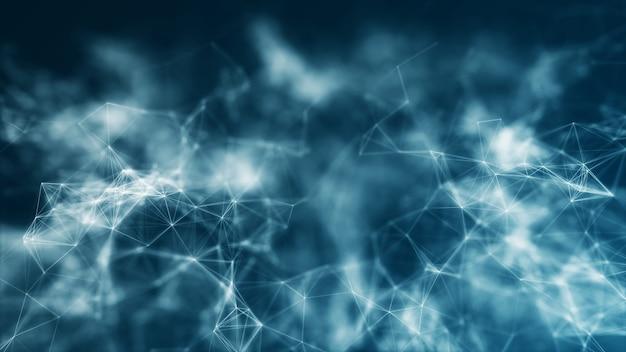 Fondo de concepto de big data de conexión de red de wireframeshapes abstracto poligonal con línea y punto