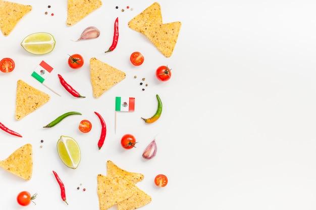 Fondo de concepto de cocina mexicana preparación de alimentos