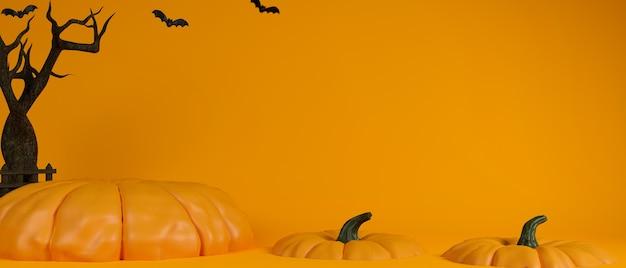 Fondo de concepto de halloween con calabazas calabazas de fantasía y árbol seco sobre fondo amarillo 3d rendering