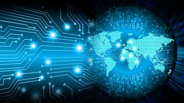Fondo de concepto de tecnología futura de circuito azul mundo cibernético