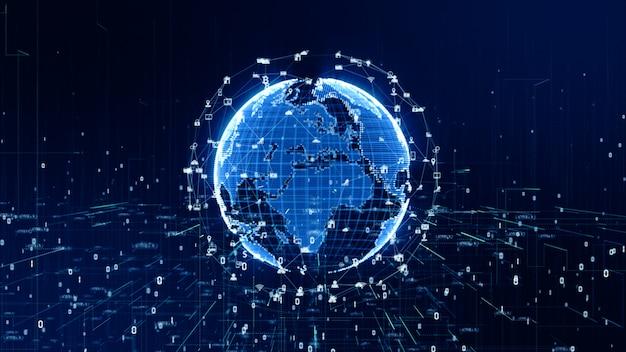 Fondo de conexión de datos de red de tecnología