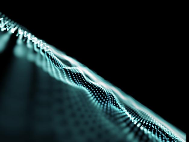 Fondo de conexiones abstractas 3d, puntos que fluyen con poca profundidad de campo