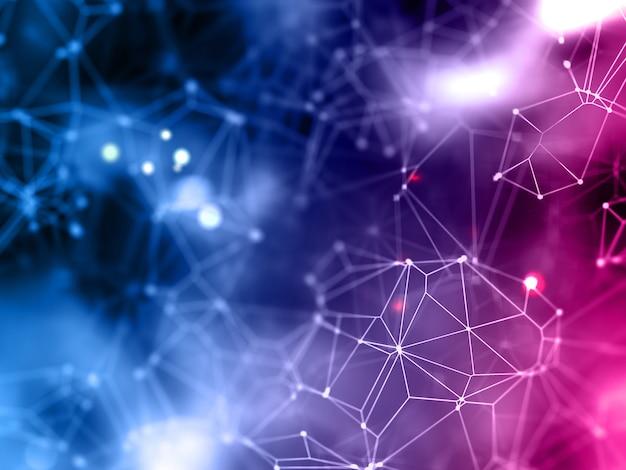 Fondo de conexiones de red 3d de baja poli.