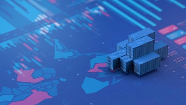 Fondo de contenedor de importación y exportación de infografías, 3d