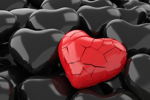 Fondo de corazón roto representación 3d